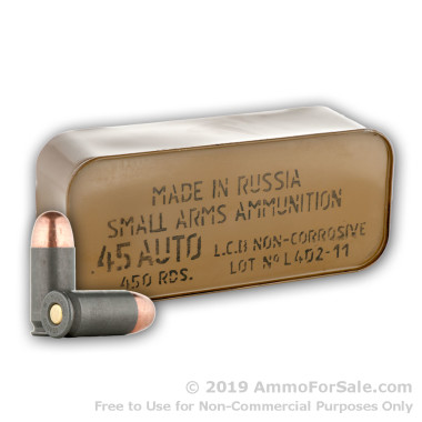 450  Rounds in Sealed Tin of 230gr FMJ .45 ACP Ammo by Tula