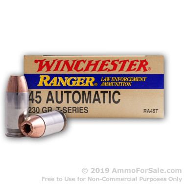 50 Rounds of 230gr JHP .45 ACP Ammo by Winchester Ranger T-Series