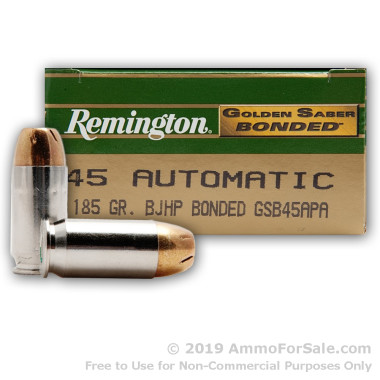 50 Rounds of 185gr JHP .45 ACP Ammo by Remington Bonded Golden Saber