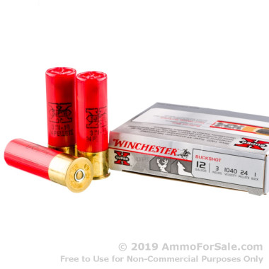 5 Rounds of  #1 Buck 12ga Ammo by Winchester