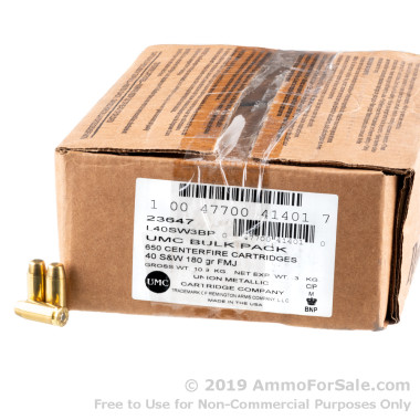 650 Rounds of 180gr MC .40 S&W Ammo by Remington