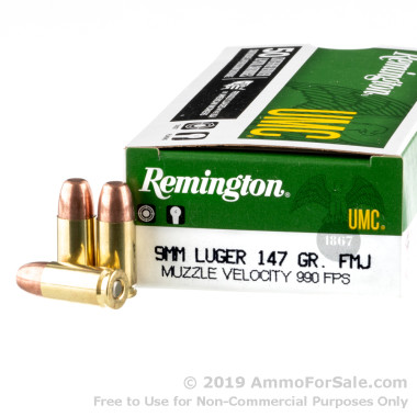 50 Rounds of 147gr MC 9mm Ammo by Remington