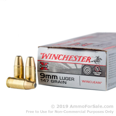 500  Rounds of 147gr BEB 9mm Ammo by Winchester