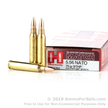 200 Rounds of 75gr HPBT 5.56x45 Ammo by Hornady