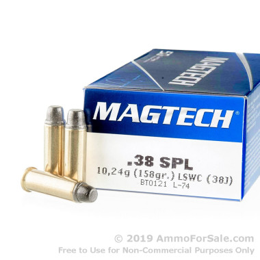 1000 Rounds of 158gr LSWC .38 Spl Ammo by Magtech