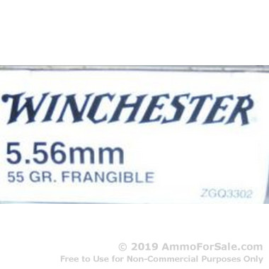 20 Rounds of 55gr Frangible ZGQ3302 5.56x45 Ammo by Winchester