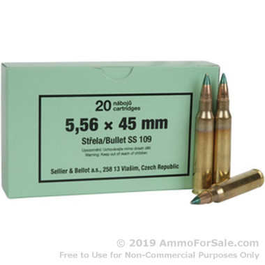 20 Rounds of 62gr SS109 FMJ 5.56x45 Ammo by Sellier & Bellot