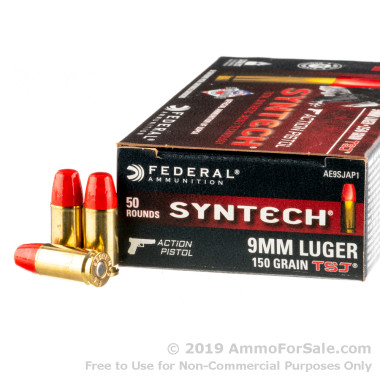 50 Rounds of 150gr Total Synthetic Jacket 9mm Ammo by Federal