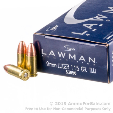 50 Rounds of 115gr TMJ 9mm Ammo by Speer