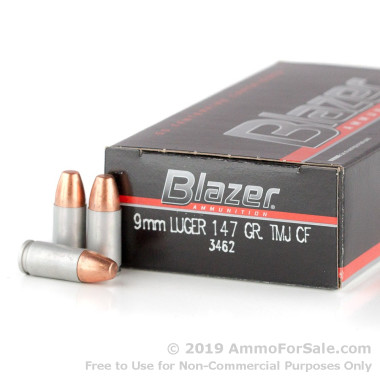 1000 Rounds of 147gr TMJ 9mm Ammo by Blazer Clean-Fire