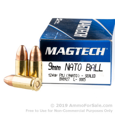 50 Rounds of 124gr FMJ 9mm NATO Ammo by Magtech