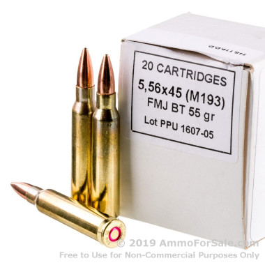 1000 Rounds of 55gr FMJ 5.56x45 M193 Ammo by Prvi Partizan