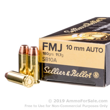 50 Rounds of 180gr FMJ 10mm Ammo by Sellier & Bellot