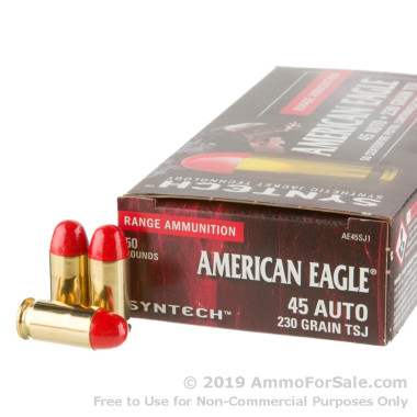 50 Rounds of 230gr Total Synthetic Jacket (TSJ) .45 ACP Ammo by Federal Syntech