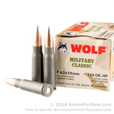 1000 Rounds of 124gr HP 7.62x39mm Ammo by Wolf