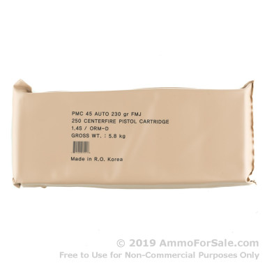250 Rounds of 230gr FMJ .45 ACP Ammo by PMC