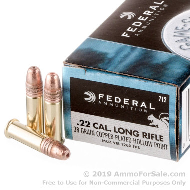 50 Rounds of 38gr CPHP .22 LR Ammo by Federal