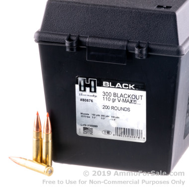 200 Rounds of 110gr V-MAX 300 AAC Blackout Ammo in Field Box by Hornady