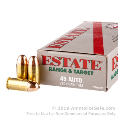 1000 Rounds of 230gr FMJ .45 ACP Ammo by Estate Cartridge