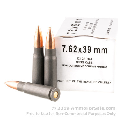 1000 Rounds of 123gr FMJ 7.62x39mm Ammo by Wolf Generic