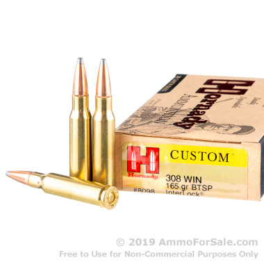 20 Rounds of 165gr SP .308 Win Ammo by Hornady
