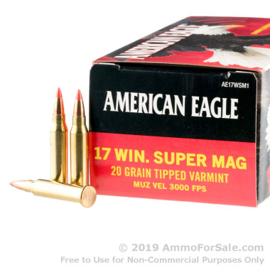 50 Rounds of 20gr Polymer Tip .17 WSM Ammo by Federal