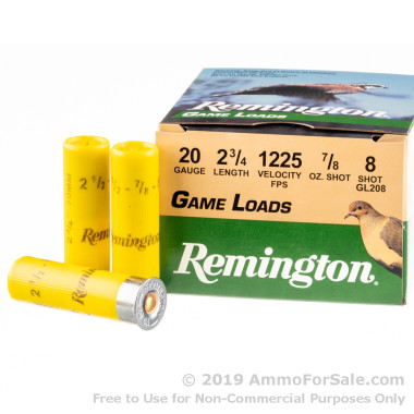 25 Rounds of 7/8 ounce #8 shot 20ga Ammo by Remington