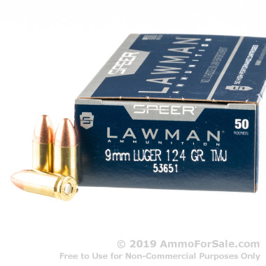 50 Rounds of 124gr TMJ RN 9mm Ammo by Speer