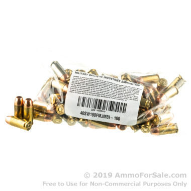 1000 Rounds of 180gr FMJ .40 S&W Ammo by M.B.I.