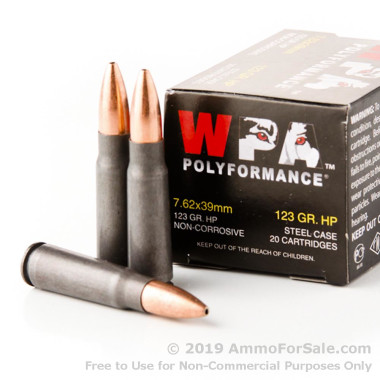 1000 Rounds of 123gr HP 7.62x39mm Ammo by Wolf