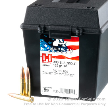 200 Rounds of 125gr HP 300 AAC Blackout Ammo by Hornady in Field Box