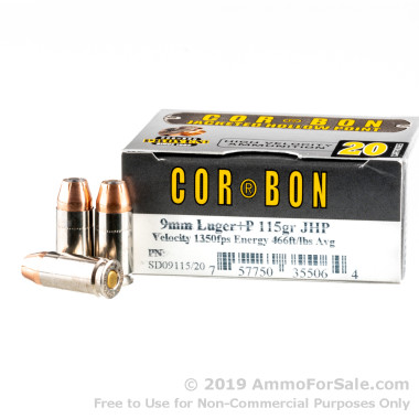 20 Rounds of 115gr +P JHP 9mm Ammo by Corbon