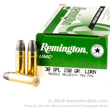 50 Rounds of 158gr LRN .38 Spl Ammo by Remington