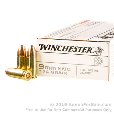 50 Rounds of 124gr FMJ 9mm Ammo by Winchester