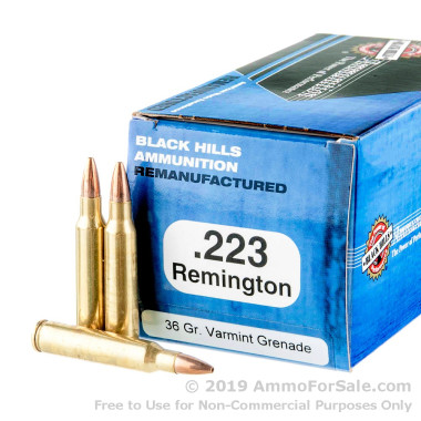 50 Rounds of 36gr HP .223 Ammo by Black Hills Remanufactured