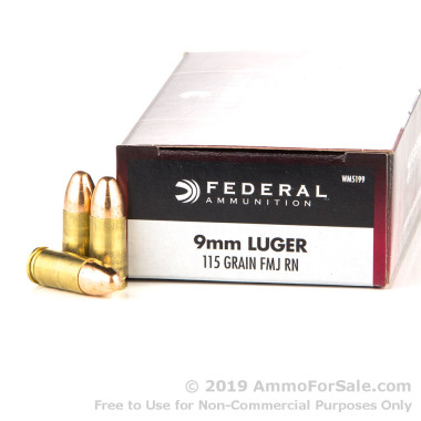 50 Rounds of 115gr FMJ 9mm Ammo by Federal