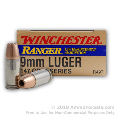 50 Rounds of 147gr JHP 9mm Ammo by Winchester Ranger T-Series