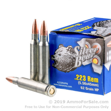 500  Rounds of 62gr HP .223 Ammo by Silver Bear