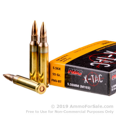 20 Rounds of 55gr FMJ 5.56x45 Ammo by PMC