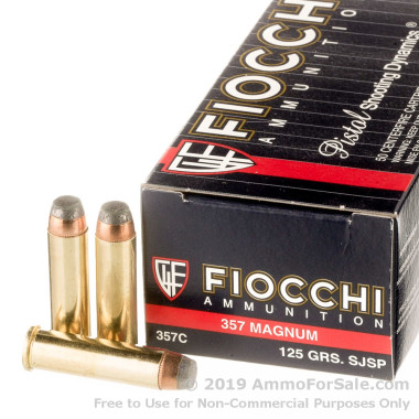 50 Rounds of 125gr SJSP .357 Mag Ammo by Fiocchi