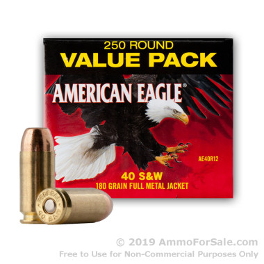 250 Rounds of 180gr FMJ .40 S&W Ammo by Federal