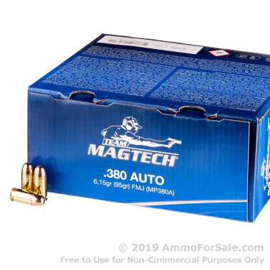 1000 Rounds of 95gr FMJ .380 ACP Ammo by Magtech