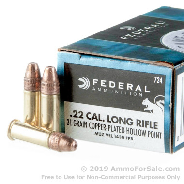 500  Rounds of 31gr CPHP .22 LR Ammo by Federal