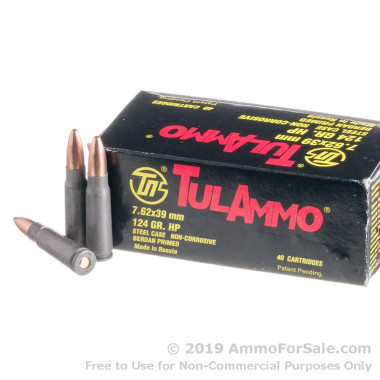 40 Rounds of 124gr HP 7.62x39mm Ammo by Tula