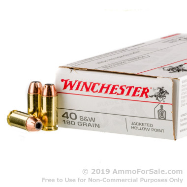 50 Rounds of 180gr JHP .40 S&W Ammo by Winchester