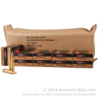 200 Rounds of 55gr FMJBT .223 Ammo by PMC