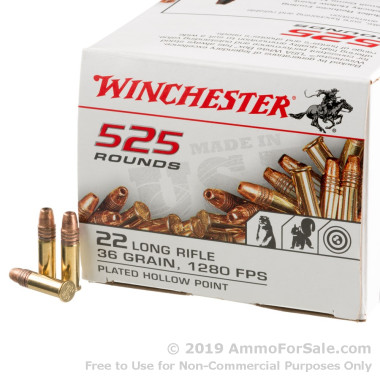 525 Rounds of 36gr CPHP .22 LR Ammo by Winchester