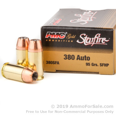 20 Rounds of 95gr JHP .380 ACP Ammo by PMC