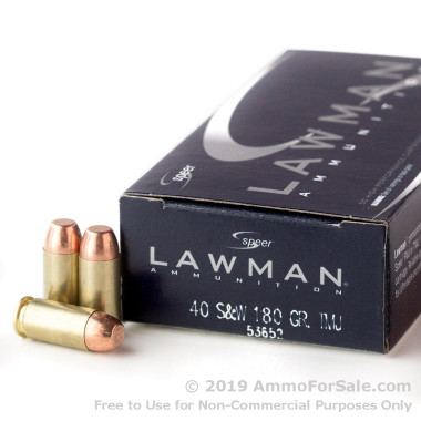 50 Rounds of 180gr TMJ .40 S&W Ammo by Speer