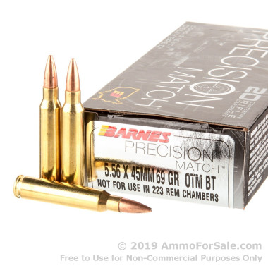 20 Rounds of 69gr OTM 5.56x45 Ammo by Barnes Precision Match